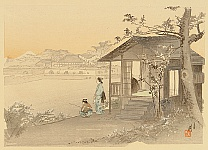 Gekko Ogata 1859-1920 - One Hundred Views of Mt. Fuji - Riverside House