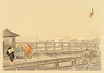 Gekko Ogata 1859-1920 - One Hundred Views of Mt. Fuji - One Day on a Bridge