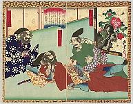 Toyonobu Utagawa 1859-86 - New Biography of Toyotomi Hideyoshi - Massaging Enemy's Back