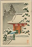 Hasui Kawase 1883-1957 - Ni-o Gate in the Snow
