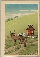Hasui Kawase 1883-1957 - Deer and Shrine