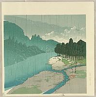 Hasui Kawase 1883-1957 - Twelve Famous Sceneries - Rain in Okutama