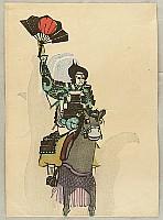 Isaku Nakagawa 1899-2000 - Bunraku Puppet and Horse