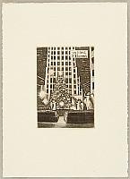 Tokio Miyashita born 1930 - Ex-libris Scenery of New York - Christmas Tree