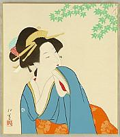Shoen Uemura 1875-1949 - Beauty and Maple Tree