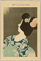 Shinsui Ito 1898-1972 - One Hundred Beauties in Takasago-zome Light Kimono - Fireworks