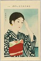 Shinsui Ito 1898-1972 - One Hundred Beauties in Takasago-zome Light Kimono - Beauty on a Beach