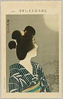 Shinsui Ito 1898-1972 - One Hundred Beauties in Takasago-zome Light Kimono - Beauty and the Full Moon