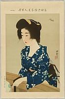 Shinsui Ito 1898-1972 - One Hundred Beauties in Takasago-zome Light Kimono - Bat in Summer Evening