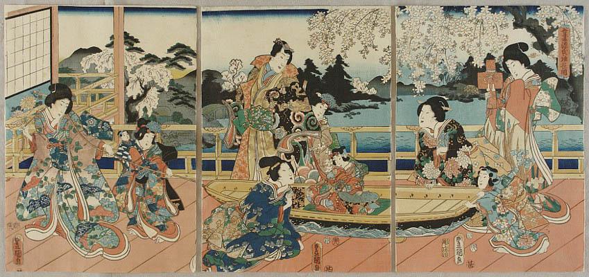 Kunisada Utagawa 1786-1865 - Prince Genji and Child Play