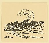 Unichi Hiratsuka 1895-1997 - Car and Volcano