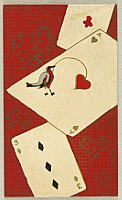 Unknown - Handmade Woodblock Envelope - Bird and Heart