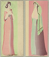Unknown - Handmade Woodblock Envelope - Two Beauties