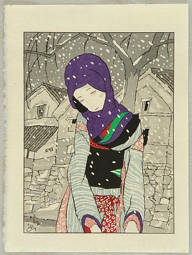 Yumeji Takehisa 1884-1934 - Snowy Night Legend