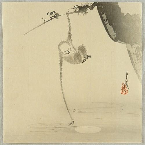 Gekko Ogata 1859-1920 - Monkey and the Moon Reflection