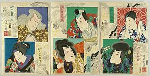 Kunichika Toyohara 1835-1900 - 6 Kabuki Actor Portraits