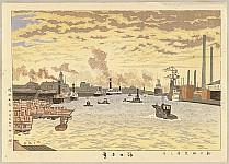 Takeji Asano 1900-1999 - Scenery of New Osaka - Sunset at Estuary