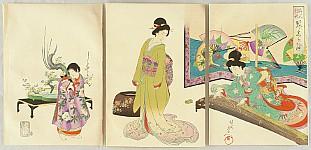 Chikanobu Toyohara 1838-1912 - Playing Koto