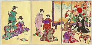 Chikanobu Toyohara 1838-1912 - Lady's Customs and Manners- Tea Time