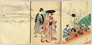 Chikanobu Toyohara 1838-1912 - Ladies in Chiyoda Palace - Theater Performers