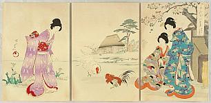 Chikanobu Toyohara 1838-1912 - Ladies in Chiyoda Palace - Roosters at Teahouse