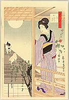 Chikanobu Toyohara 1838-1912 - Cats on the Roof