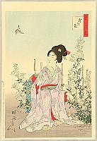 Chikanobu Toyohara 1838-1912 - Snow, Moon, Flower - Flower Garden