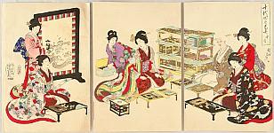 Chikanobu Toyohara 1838-1912 - Ladies in Chiyoda Palace - Matching Poems