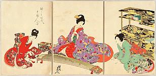 Chikanobu Toyohara 1838-1912 - Court Ladies in Tokugawa Era - Playing Koto