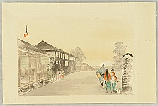 Gekko Ogata 1859-1920 - One Hundred Views of Mt. Fuji - Town Street