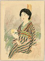 Toraji Ishikawa 1875-1964 - Beauty with Uchiwa Fan