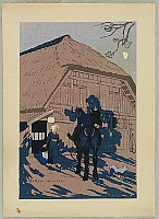 Goro Tsuruta 1890-1969 - Collection of Sketch Club Prints - Horse Rider in the Shadow