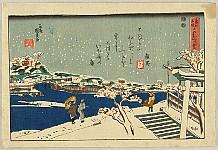 Kunikazu Utagawa Ca.1830-1910. - Famous Places in the Eastern Capital - Snow at Matsuchiyama
