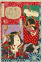 Kunichika Toyohara 1835-1900 - Kabuki Actors Zodiac -  Kawarazaki Sansho, Nakamura Sojuro
