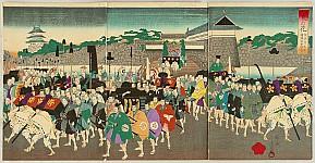 Chikanobu Toyohara 1838-1912 - Feudal Lord Procession at Chiyoda Castle