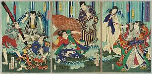 Kunichika Toyohara 1835-1900 - Kabuki and Waterfalls
