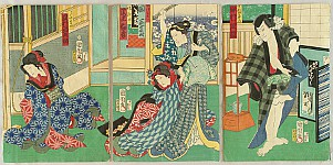 Kunichika Toyohara 1835-1900 - Quarrel - Kabuki