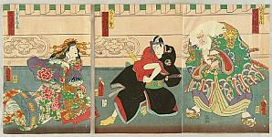 Kuniaki Utagawa active ca.1850-60 - Lovers and Old Man