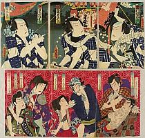Kunichika Toyohara 1835-1900 - Tattooed Men - Kabuki