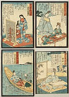 Kunisada Utagawa 1786-1865 - One Hundred Poets One Hundred Poems - 4 sheets