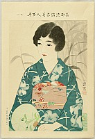 Shinsui Ito 1898-1972 - One Hundred Beauties in Takasago-zome Light Kimono - Beauty and Round Fan
