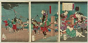 Yoshitoshi Tsukioka (Taiso) 1839-1892 - Eight Views of Warriors - Hideyoshi and Robbers
