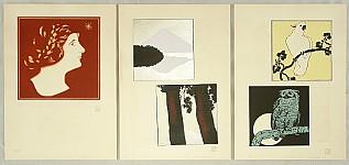 Hisui Sugiura 1876-1965 - Collection of Regularly Applied Designs by Hisui - Profile. Birds.  Mt. Fuji