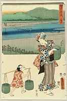 Hiroshige Ando 1797-1858 - Twin Brushes Fifty-three Stations - Fuchu
