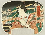Kunisada Utagawa 1786-1865 - Courtesan on Balcony - uchiwa-e
