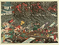 Yoshikazu Utagawa active ca.1850-70 - Inferno and Battle around a Castle