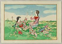 Yumeji Takehisa 1884-1934 - Girls in Meadow