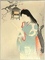 Toshikata Mizuno 1866-1908 - Reading Poem under Lamp - Toka no Eibai