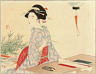 Toshikata Mizuno 1866-1908 - Writing Wishes for Star Festival - Toro
