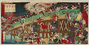 Sadanobu II Hasegawa fl.ca. 1850 -1890 - View of the Battle at Ansei Bridge in Kumamoto